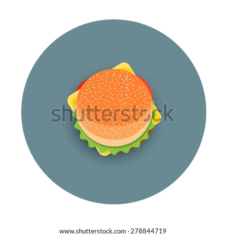 Icon of stylized hamburger -  top view. Vector EPS10 - stock vector