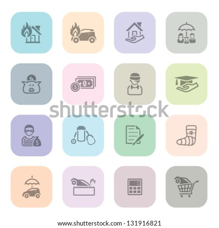 icon series in light colors - stock vector