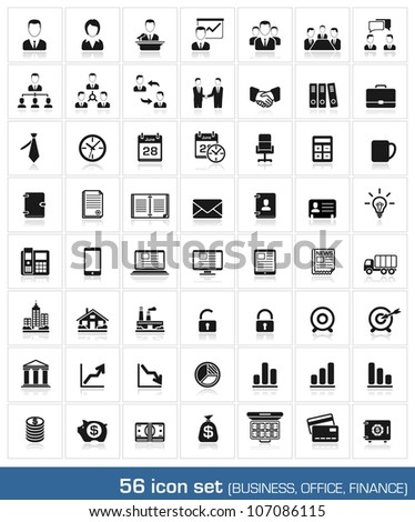 56 icon set. Business, office, finance, human resources and management. vector - stock vector