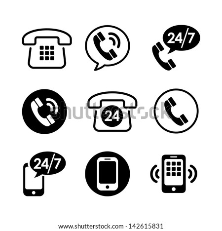 9 icon set - communication, call, phone - stock vector
