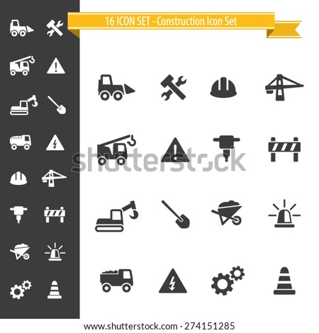 16 Icon Set - Construction Icons - stock vector