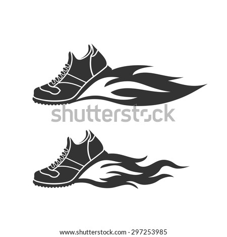 icon sports shoes, escapes fire, a reactive stream - stock vector