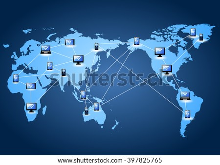 icon with line link on world map (social network concept) - stock vector