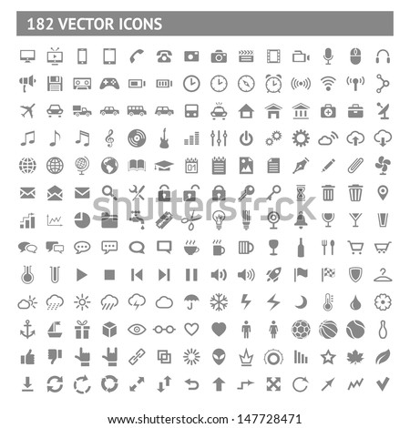 182 icons and pictograms set. EPS10 vector illustration. - stock vector