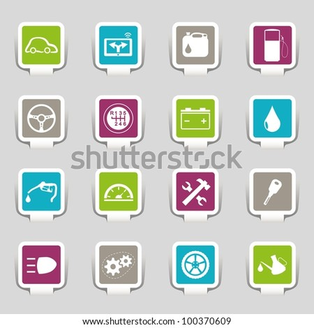16 icons car - stock vector
