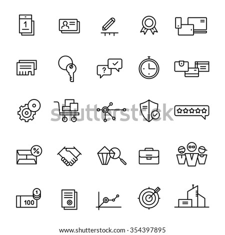 25 icons for landing pages and online shops in linear style - stock vector
