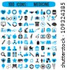 100 icons for medicine - vector icons - stock vector
