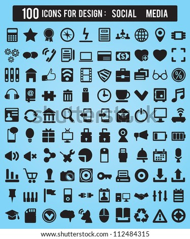 100 Icons For Web and Design Elements - social media vector icons - stock vector