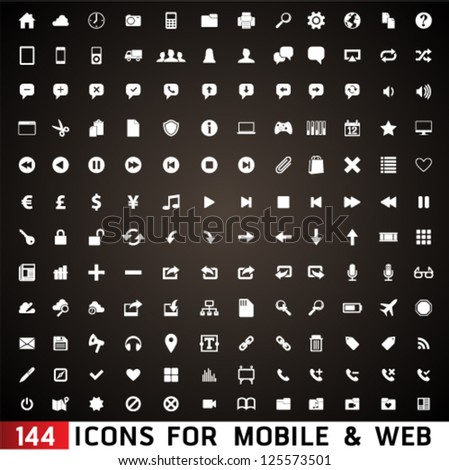 144  Icons For Web and Mobile on black background. Graphic Design Editable For Your Design. - stock vector
