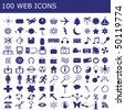 100 icons for web applications - stock vector