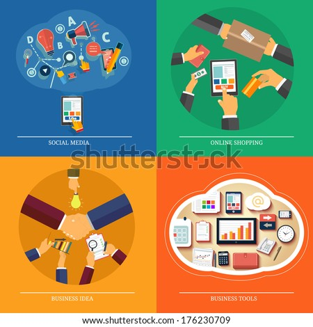 Icons for web design, seo, social media, online shopping, business idea, business tools - stock vector