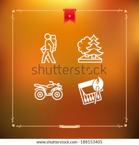 4 icons in relations to summer outdoor activity, pictured here from left to right, top to bottom -  Backpacker (hiker, trekker), Forest, Quad bike, Burning match.  - stock vector