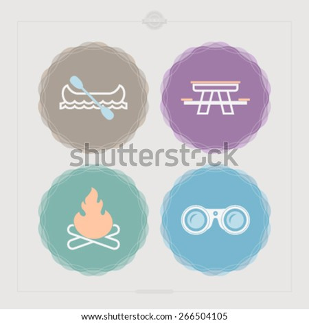 4 icons in relations to summer outdoor activity, pictured here from left to right, top to bottom -  Canoe with paddle, Picnic table, Camp fire, Binoculars.  - stock vector