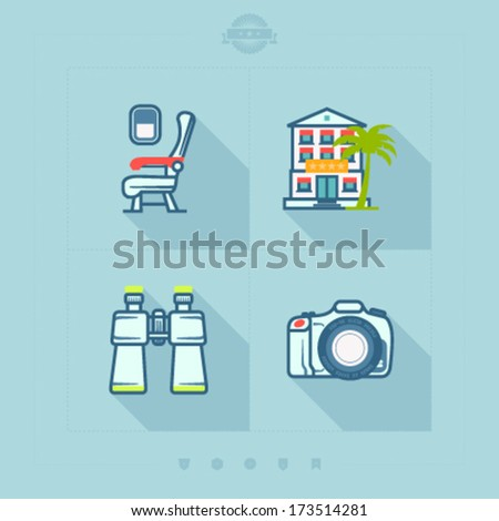 4 icons in relations to summer vacation time, pictured here from left to right, top to bottom: Airplane seat, Hotel, Binoculars, Photo Camera.  - stock vector