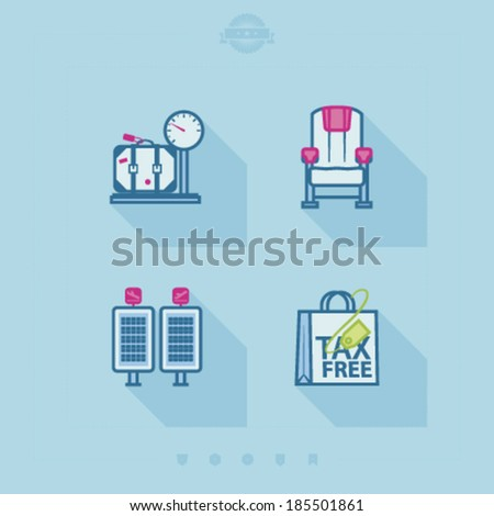 4 icons in relations to summer vacation time, pictured here from left to right, top to bottom -  Seat belt, Pilot, Arrival/Departure displays, Shopping bag.  - stock vector