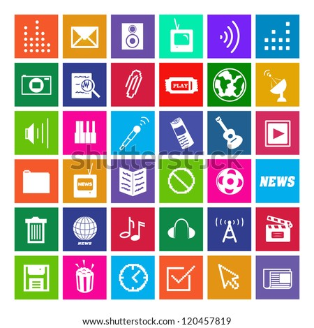 36 Icons, Metro Style, Modern, Vector EPS10
