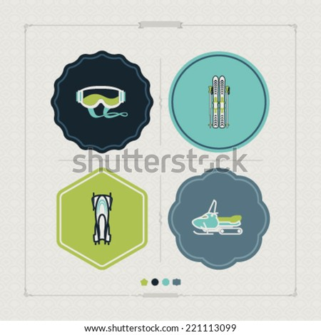 4 icons (objects) to show different kind of winter sports. Pictured here left to right, top to bottom - Goggles, Skis and poles, Bobsleigh, Snowmobile. - stock vector