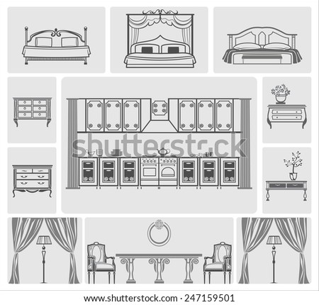 icons of different domestic kitchen, bedroom furniture - stock vector
