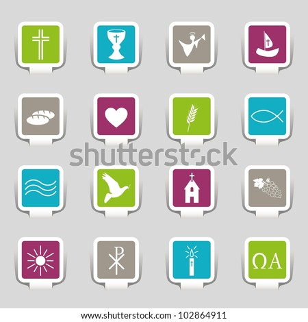 16 Icons Religion - stock vector