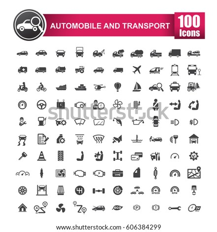 100 icons set of auto transport and logistic isolated on white background vector illustration eps 10