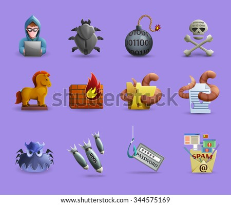 Icons set  representing methods of cracking systems variants malicious software and firewall activity isolated vector illustration - stock vector