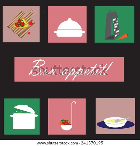 Icons set with kitchenware and text Bon appetit. In french means enjoy your meal.