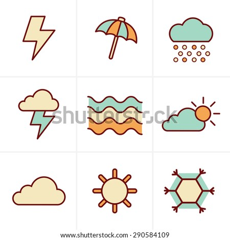 Icons Style   weather  Icons Set, Vector Design - stock vector