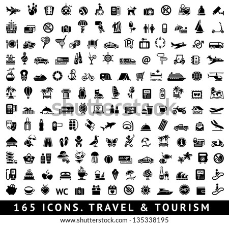 165 icons. Travel symbols and Tourism signs, vector illustration - stock vector