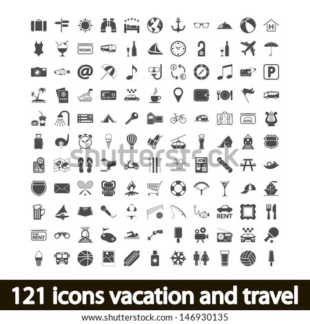 121 icons vacation and travel. Vector illustration. - stock vector