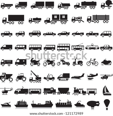 55 icons with the black image of transport on a white background - stock vector