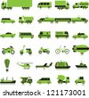 27 icons with the colour image of transport on a white background - stock vector