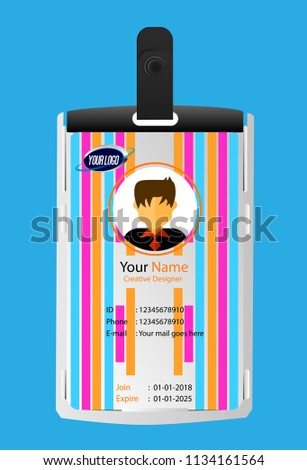 Id Security Cards Identification Badge Template Stock Vector ...