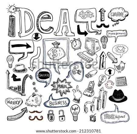 Idea and finance icons doodle set. Hand drawn vector illustration. - stock vector