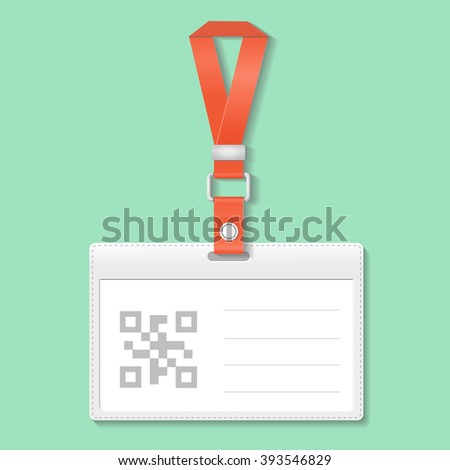 Identification badge card with Bar and Qr code, Scan barcode - stock vector