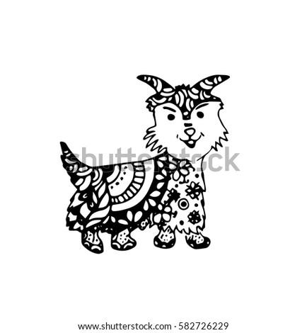 Funny Kitten Coloring Book Adults Zentangle Stock Vector 387859798 ...