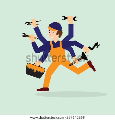 Illustration of a happy plumber, mechanic or handyman in work clothes. Plumber in a hurry to your aid.    - stock vector