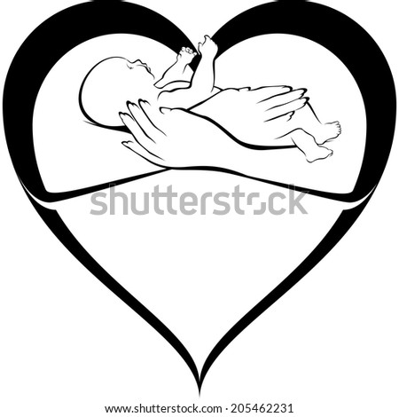 illustration of a heart that morphs into a pair of arms holding a baby. - stock vector