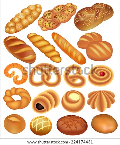 illustration of a set of bread wheat on white - stock vector