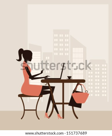 Illustration of a young woman working on laptop. Vector