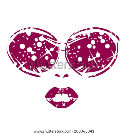 illustration of beautiful women suitable for hair care or beauty salon or glasses Salon or shop glasses - stock vector