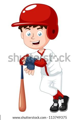 illustration of boy baseball player - stock vector