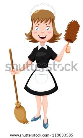 Illustration of Cartoon Maid with broom - stock vector