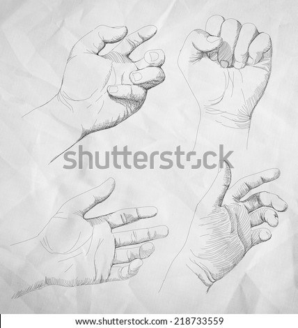 illustration of   drawing hand - stock vector