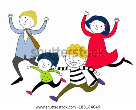 illustration of family running after each other - stock vector