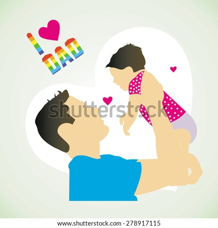 illustration of father and son in Father's Day background - stock vector