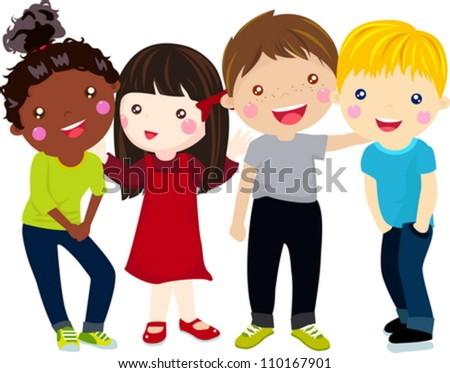 Illustration of four kids - stock vector