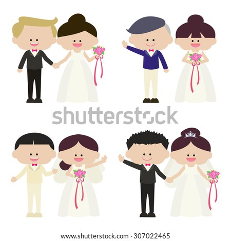 illustration of groom and bride set   - stock vector
