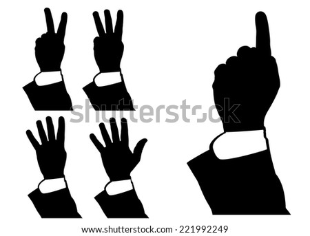 illustration of hand counting, pointing, vector - stock vector