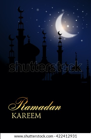 Illustration  of muslim holy month with mosque building. Ramadan Kareem greeting background with night sky and bright moon. Vector Illustration. Ramadan.  - stock vector