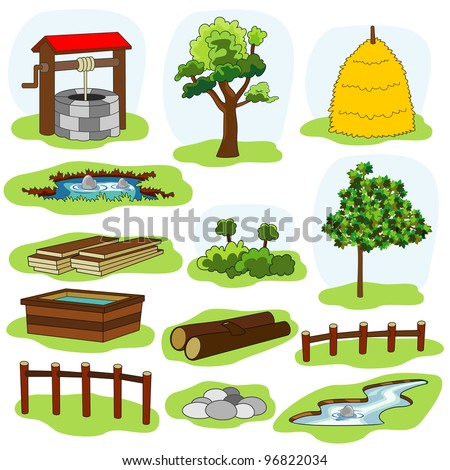 illustration of nature and village elements - stock vector